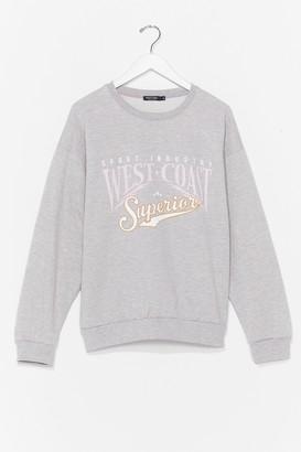 Nasty Gal Womens Meet Us On the West Coast Graphic Sweatshirt - Grey - M