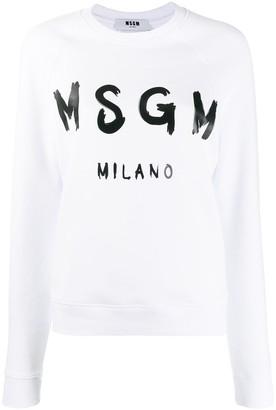 MSGM Logo Print Crew Neck Sweater