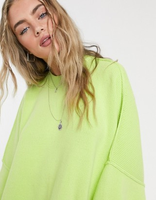 Free People Easy Street high neck oversized jumper in lime green