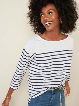 Old Navy Thick-Knit Striped 3/4-Sleeve Boat-Neck Tee for Women