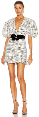 MARIANNA SENCHINA Eye Candy Mini Dress in Milky Black Polka Dot | FWRD