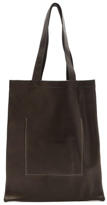 Rick Owens Stitched Logo-embossed Leather Tote Bag - Black