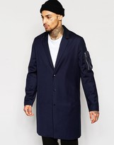 Asos Overcoat With MA1 Pocket In Navy