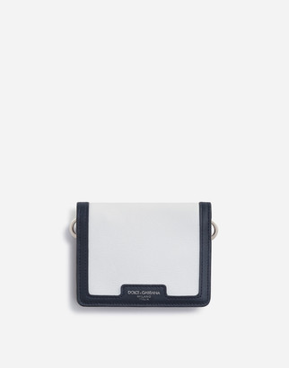 Dolce & Gabbana Two-Tone Elba Calfskin Wallet With Strap And Heat-Stamped Logo