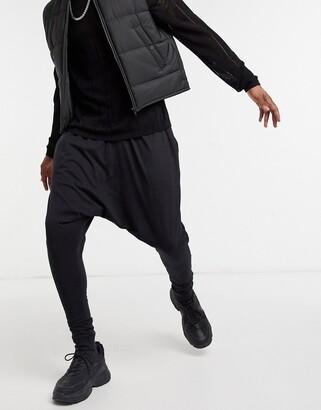ASOS DESIGN lightweight drop crotch joggers in black