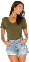 Bobi Light Weight Jersey V Neck Pocket Tee in Green. - size L (also in S,XS)