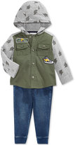 First Impressions Baby Boys' 2-Pc. Hooded Utility Shirt & Pull-On Denim Pants Set, Only at Macy's