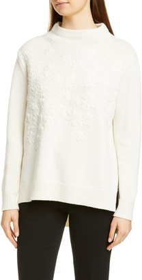 Lela Rose Embroidered Floral Wool & Cashmere Sweater