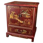 Oriental Furniture Asian 24-Inch Japanese Lacquered Oriental End Table/Nightstand