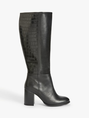 John Lewis & Partners Sky Block Heel Knee High Leather Boots, Black