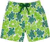Vilebrequin Hawaiian Turtle-Print Swim Trunks-GREEN