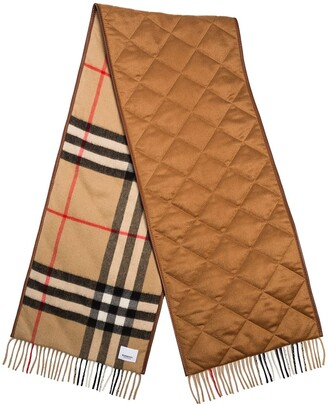 Burberry Vintage Check Lambskin Trim Scarf