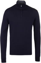 Hackett Navy Funnel Neck Cashmere Knit Sweater