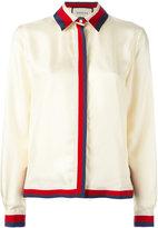 Gucci Web trim shirt - women - Silk/Cotton/Viscose - 40