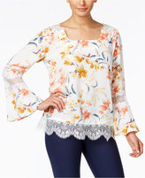 NY Collection Printed Lace-Trim Peasant Top