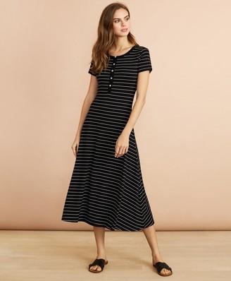 Brooks Brothers Striped Jersey Midi Dress