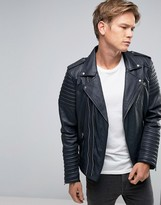 Goosecraft Leather Biker Jacket Asymmetric Zip In Navy