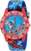 Disney Boy's 'Mickey Mouse' Quartz Plastic and Nylon Automatic Watch, Color: (Model: W002994)