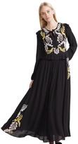 Cynthia Rowley Embroidered Silk Long Sleeve Dress