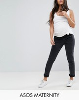 Asos Farleigh Slim Mom Jean In Washed Black With Under The Bump Waistband
