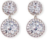 FANTASIA Round CZ Halo Double-Drop Earrings