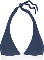 Heidi Klein Cape Cod Halterneck Stretch-cloqué Bikini Top - Blue