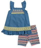 Little Lass Little Girls' Ruffled Chambray Dress and Patterned Shorts Set