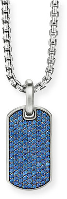 David Yurman Men's Silver Pave Sapphire Tag Enhancer