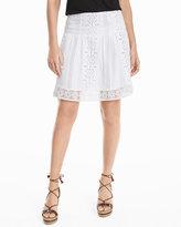 White House Black Market Embroidered White Cotton Skirt