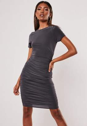 Missguided Gray Slinky Ruched T Shirt Mini Dress