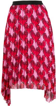 Pinko Love print pleated skirt