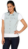 As Is Denim & Co. Striped Denim Jean Vest