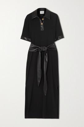 Nanushka Leila Belted Vegan Leather-trimmed Crepe Midi Dress - Black