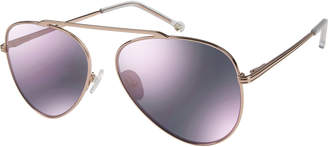 Colors In Optics Cosmic Aviator Sunglasses with Open Nose Bridge, Rose Gold