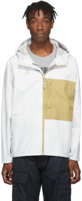 Nike White and Yellow ACG Packable Rain Jacket