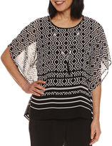 Alfred Dunner Short Sleeve Crew Neck Woven Blouse