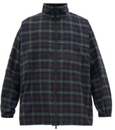 Balenciaga Logo-embroidered Checked Flannel Jacket - Mens - Green Multi