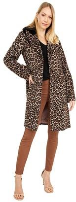 Kate Spade Leopard Wool Coat w/ Faux Fur Collar (Leopard) Women's Coat