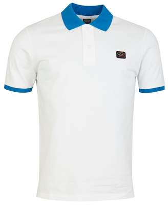 Paul And Shark Tipped Collar Cuff Polo Shirt Colour: NAVY AND ORANGE,