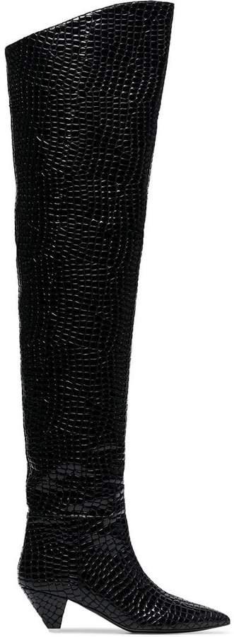 ATTICO black crocodile print 45 leather over-the-knee boots