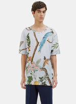 Gucci Men's Oversized Printed Linen T-shirt In Blue