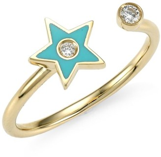 Ef Collection 14K Yellow Gold, Diamond & Enamel Star Ring