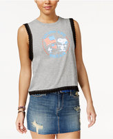 Peanuts Juniors' American Dream Lace-Trim Graphic Tank Top