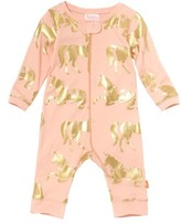 Infant Girl's Masalababy Unicorn Organic Cotton Fitted One-Piece Pajamas