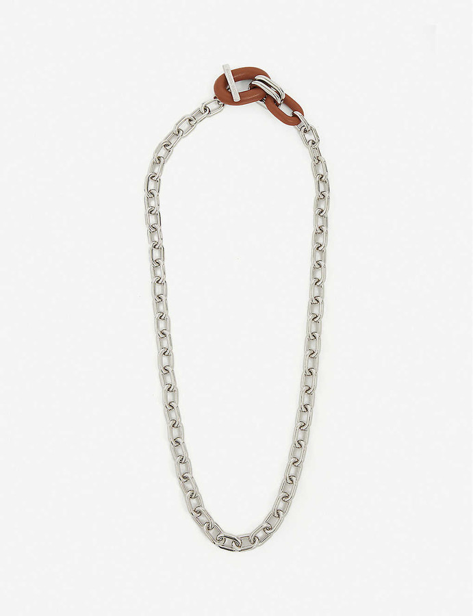 Paco Rabanne XL link leather and silver-toned necklace