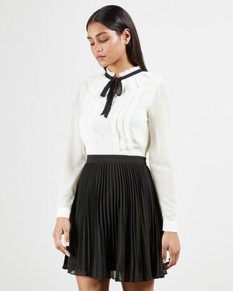 Ted Baker ZAZU Pleated Mini Dress with Tie Detail