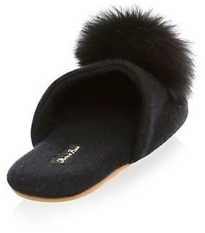 Minnie Rose Cashmere & Fox Fur Slippers