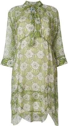Prada floral-print tie-neck dress