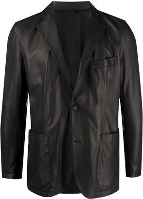 Tagliatore Single-Breasted Leather Blazer