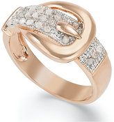 Townsend Victoria 18k Rose or Yellow Gold over Sterling Silver Diamond Buckle Ring (1/4 ct. t.w.)